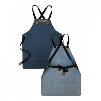 Blue leather aprons for kids.