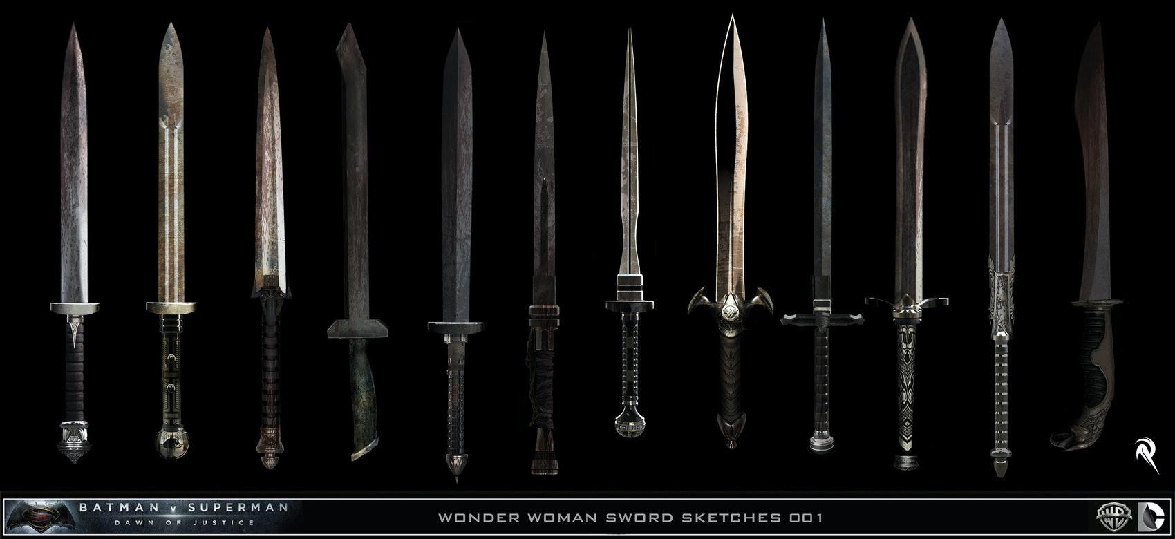 Designs for Wonder Woman's Sword in Batman v Superman