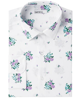 Men's Slim-Fit Stretch Easy-Care Floral Dress Shirt