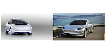 Volkswagen I.D. Tesla Model 3 cars concept electric vehicles