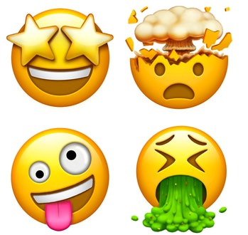 Four new face emojis.