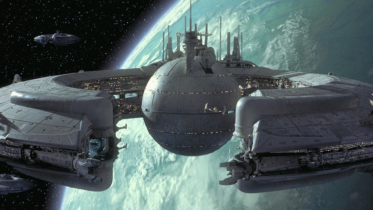 A Trade Federation ship in 'The Phantom Menace'