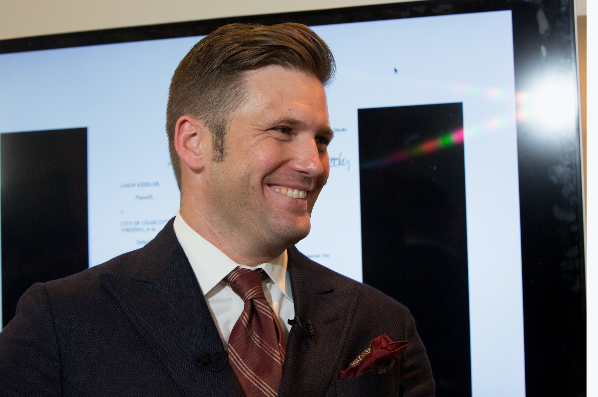 ALEXANDRIA, VA - AUGUST 14: White nationalist Richard Spencer speaks to select media in his office space on August 14, 2017 in Alexandria, Virginia. Spencer, head of the National Policy Institute and self-described creator of the term 'alt-right,' announced his intention to speak at rallies at Texas A&M University and the University of Florida in September. Spencer attended this past weekend's violent protests at the University of Virginia that left at least three people dead and dozens injured. (Photo by Tasos Katopodis/Getty Images)