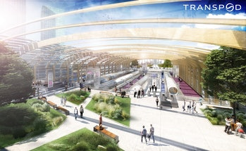 TransPod's concept design for a hyperloop station.