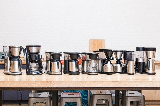 The eight machines we tested in 2018. If everyone had this much counter space, choosing between features wouldn't be a problem.