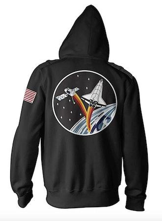 Ripple Junction NASA Adult Unisex Ship and Satellite Military Full Zip Hoodie