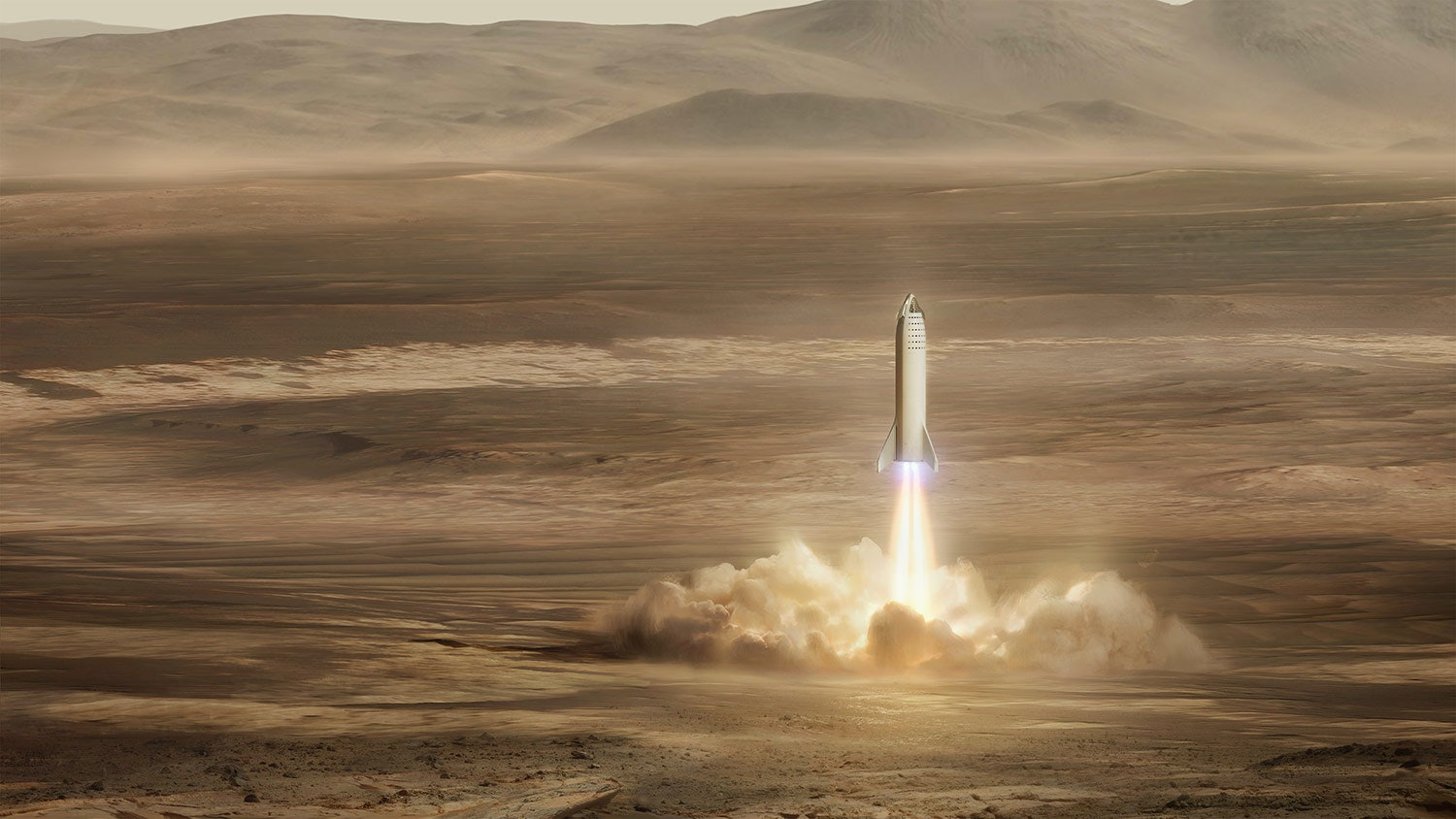 SpaceX's BFR, an earlier version of the Starship, landing on Mars. The image shows an artist concept of how the first city may look.