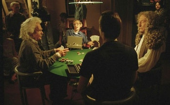 Data plays poker with Einsten, Hawking, and Newton in 'Star Trek: The Next Generation'.