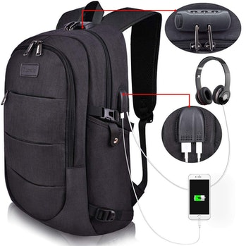 Tzowla Business Laptop Backpack Water Resistant Anti-Theft College Backpack with USB Charging Port a...