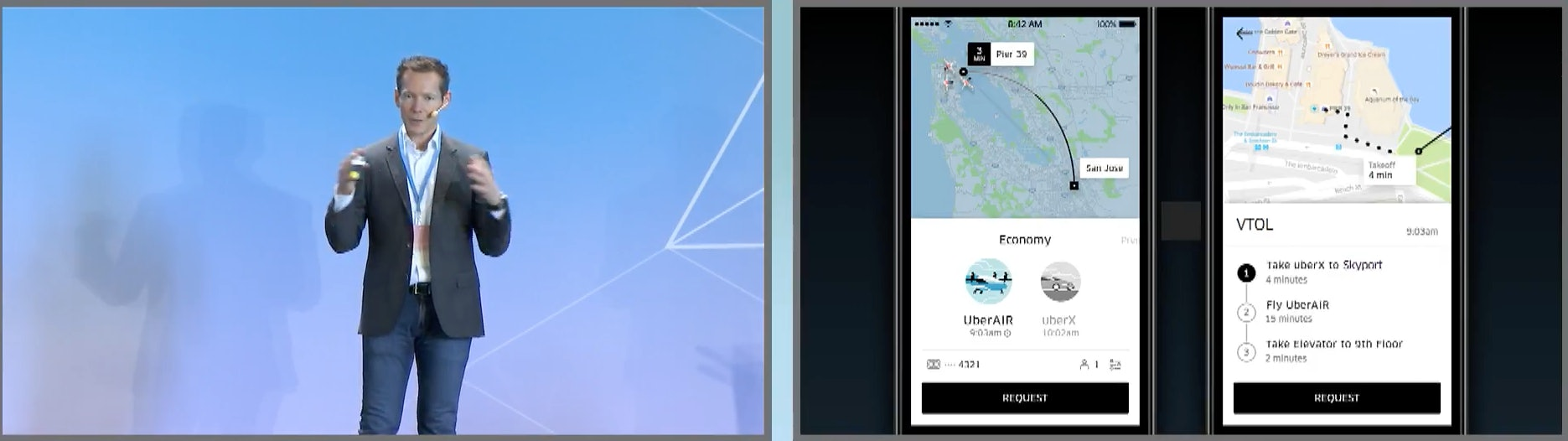 Take an UberX to the vertiport, get on an UberAir, hop in another UberX when you land.