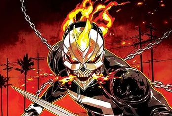Drawing of Ghost Rider/Robbie Reyes from the Marvel Comics.