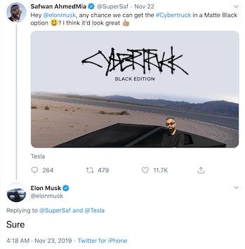 Tesla Cybertruck options.