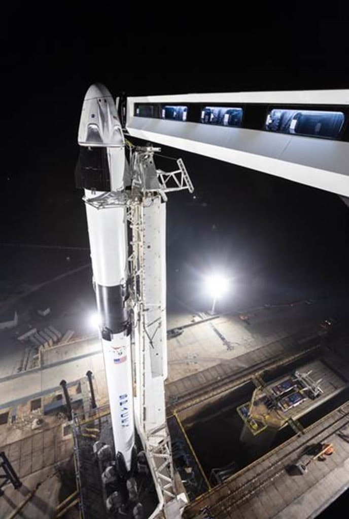 SpaceX's Crew Dragon ready on platform.