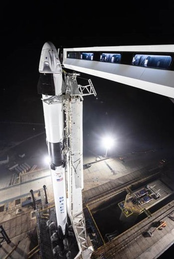 SpaceX's Crew Dragon ready on platform.