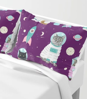Space Cats pet portraits cute cat gifts cat lady outer space cadet rockets Pillow Sham