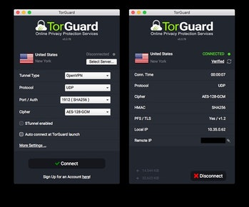 TorGuard's app isn't as user-friendly as our top pick's, but it gets the job done securely. (Mac version shown.)