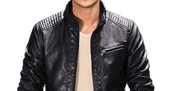 Fairylinks Leather Jacket Men Black Slim Fit Motorcycle Lightweight