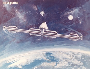 A 1969 station concept, to be assembled on-orbit from spent Apollo program stages.The station was to...