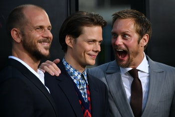 HOLLYWOOD, CA - SEPTEMBER 05: Actors Gustav Skarsgard, Bill Skarsgard and Alexander Skarsgard attend the premiere of Warner Bros. Pictures and New Line Cinema's 'It' at the TCL Chinese Theatre on September 5, 2017 in Hollywood, California. (Photo by Neilson Barnard/Getty Images)
