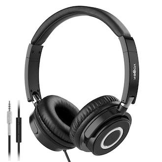 On Ear Headphones with Mic, Vogek Lightweight Portable Fold-Flat Stereo Bass Headphones