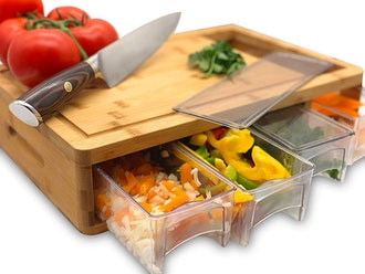 Simpli Better Bamboo Cutting Board With Prep Trays and Lids