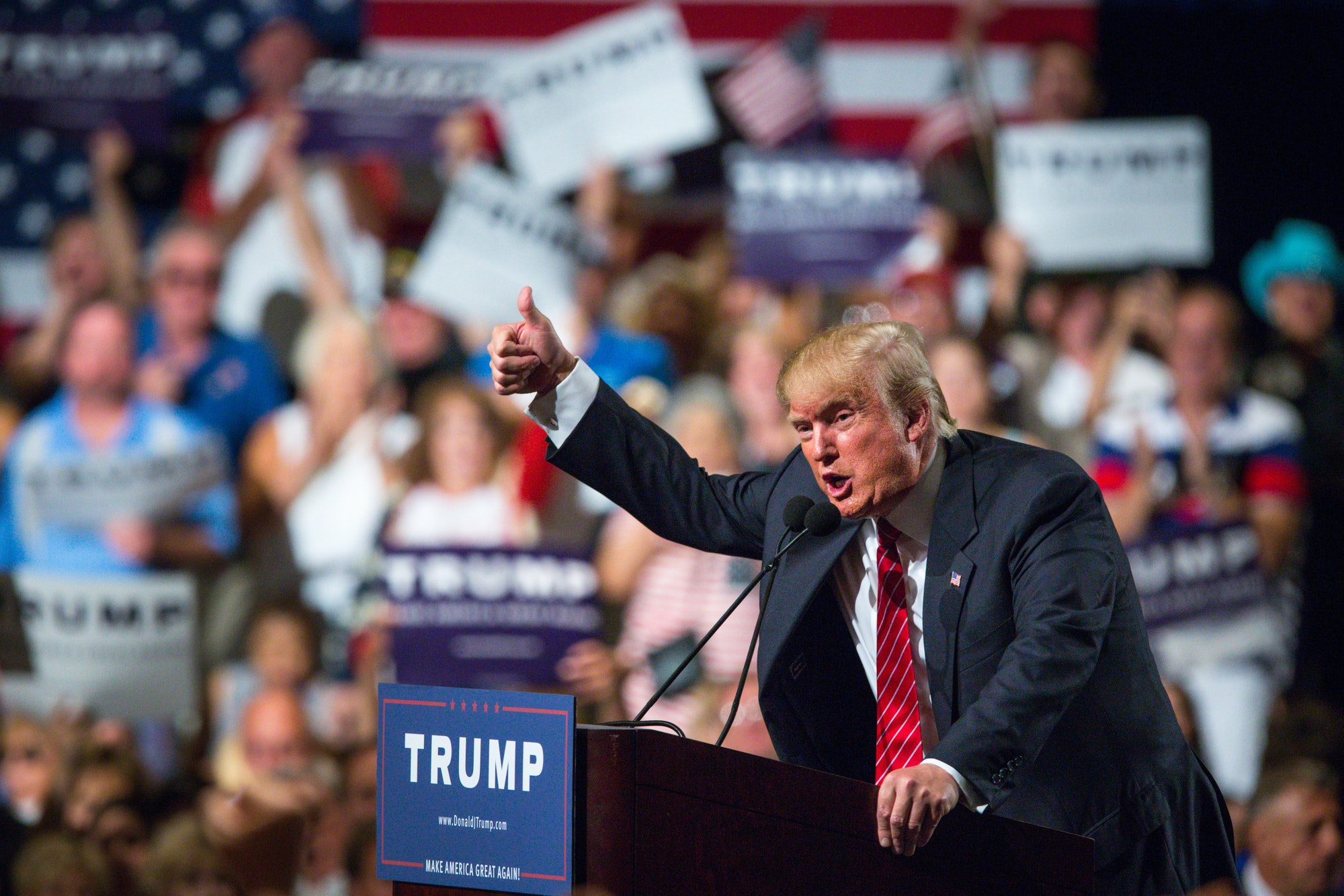 Then-candidate Donald Trump at the Phoenix Convention Center in July2015 in Phoenix, Arizona. He spoke about illegal immigration about 4,000 people.