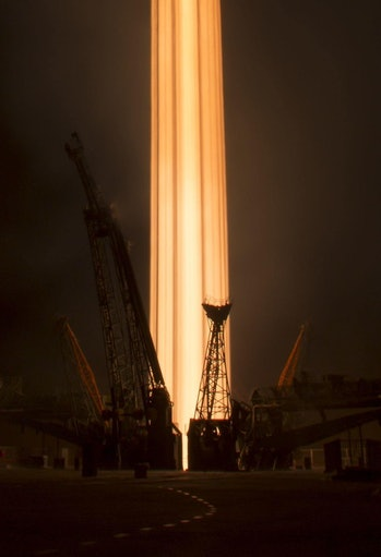NASA photographer Bill Ingalls captured this epic view of the Soyuz blasting off.