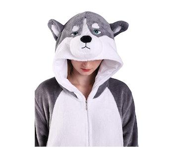 EJsoyo Fashion Onesie Sleepwear Rabbit Husky Animal Costume Adults and Teens
