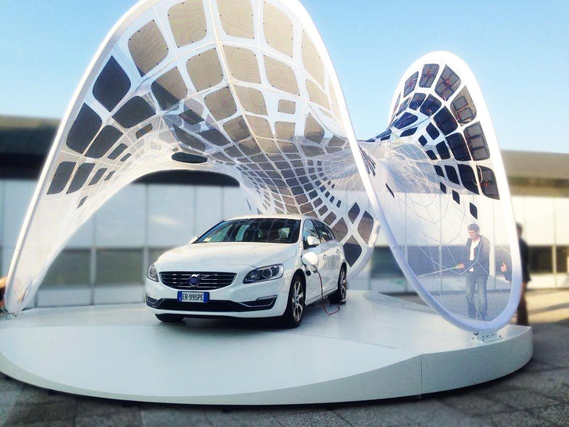 Volvo pure tension pavilion solar charging