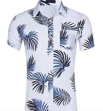 HENGAO Men's Button Down Hawaiian Floral Print Short Sleeves Casual Shirt