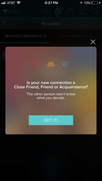 What it looks like when you get a connection request on Vero.