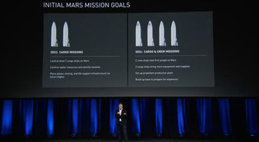 In 2017, Elon Musk lays out the first SpaceX missions to Mars and their purposes.