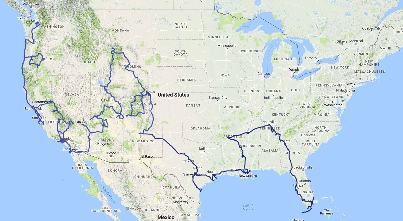 James and Thomas' route map.