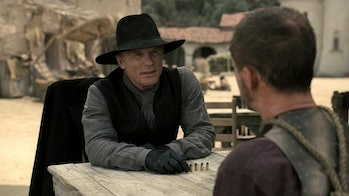 The Man in Black walks around Westworld like he owns the place because he kind of does.
