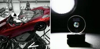 "The ""Spaceman"" Tesla Roadster and the Arch containing the Asimov 'Foundation"" trilogy."