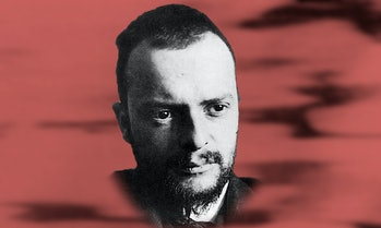 A stylized version of the portrait ofPaul Klee, photographed in 1911 by Alexander Eliasberg.