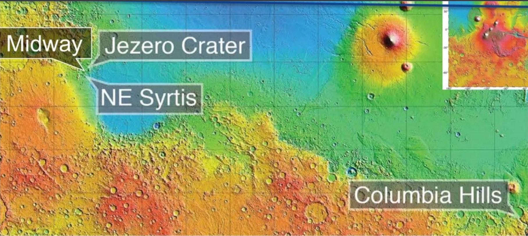 Map of final four Mars 2020 landing sites