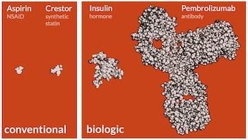 Biologic conventional drug development size