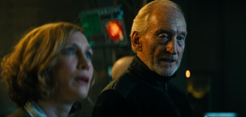 Charles Dance and Vera Farmiga in 'Godzilla: King of the Monsters'