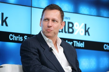 NEW YORK, NY - NOVEMBER 03: Partner at Founders Fund Peter Thiel participates in a panel discussion at the New York Times 2015 DealBook Conference at the Whitney Museum of American Art on November 3, 2015 in New York City. (Photo by Neilson Barnard/Getty Images for New York Times)