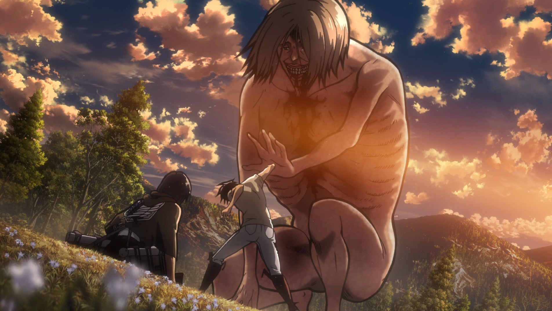 Eren triggers the Coordinate punching the outstretched hand of the Smiling Titan.