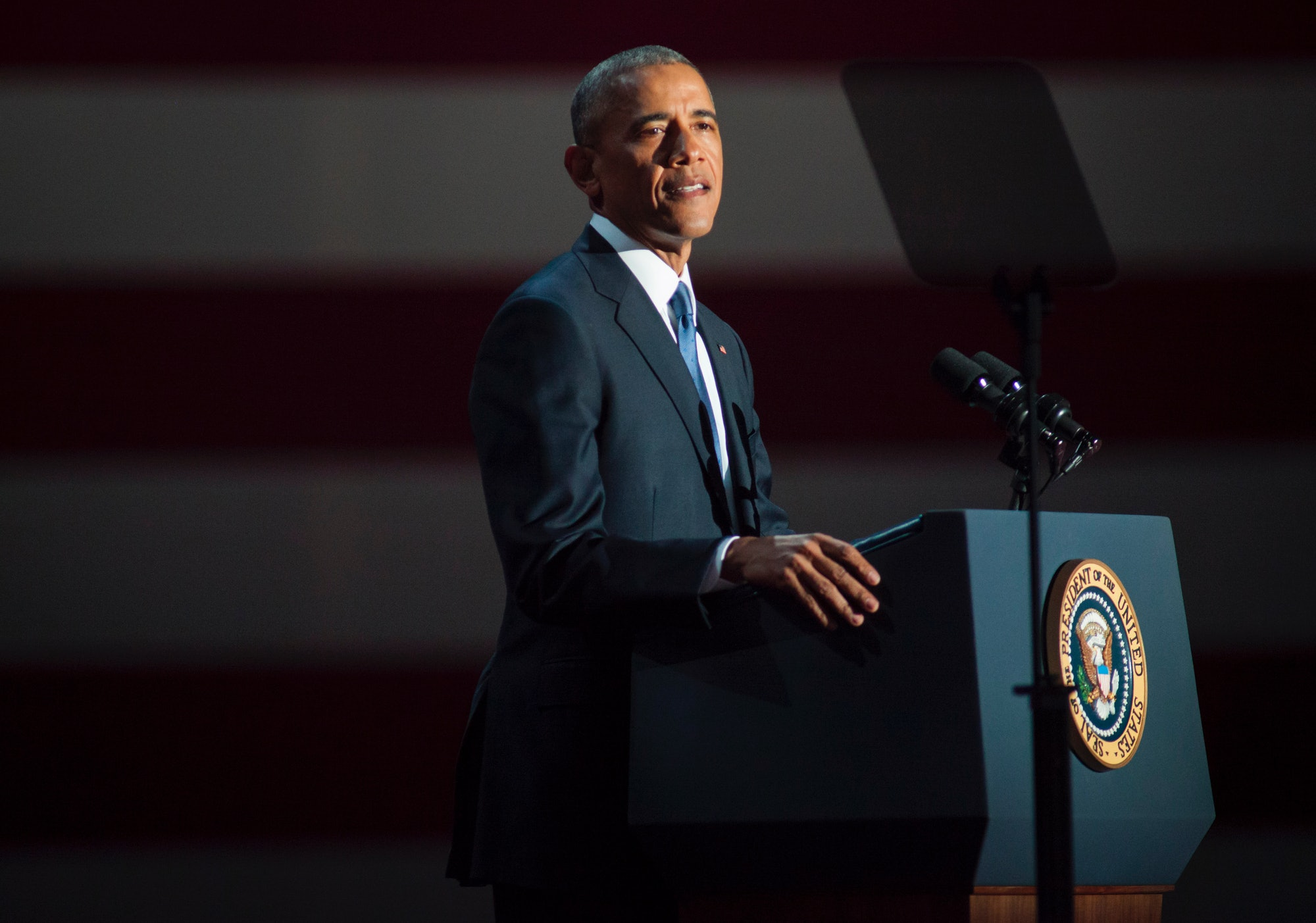 CHICAGO, IL - JANUARY 10: U.S. President Barack Obama speaks to supporters during his farewell speech at McCormick Place on January 10, 2017 in Chicago, Illinois. Obama addressed the nation in what is expected to be his last trip outside Washington as president. President-elect Donald Trump will be sworn in as the 45th president on January 20. (Photo by Darren Hauck/Getty Images)