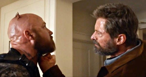 Hugh Jackman slices into a dude's skull as Wolverine in 'Logan'.