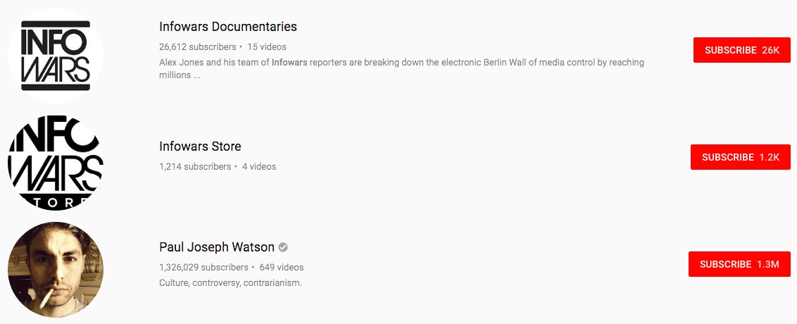 InfoWars on YouTube.