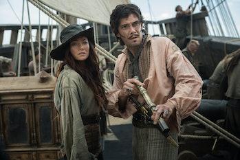 Clara Paget as Anne Bonny and Toby Schmitz as Jack Rackham