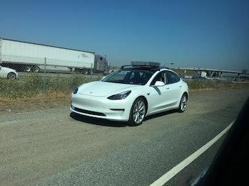 A Tesla Model 3 prototype.