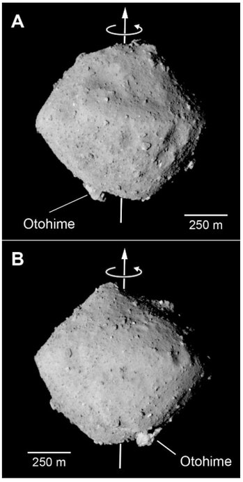 JAXA scientists announced that Ryugu is shaped like a spinning top made of rubble.