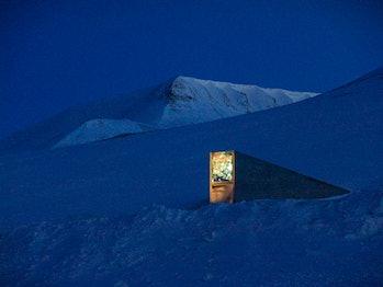 Svalbard Global Seed Vault at night