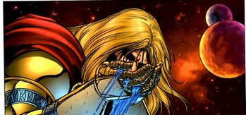 Thor gouges his own eyes out, seeking the wisdom of Odin.