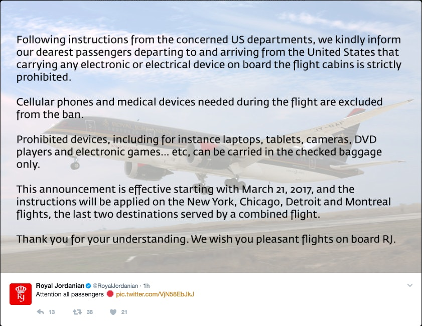 Royal Jordanian Airlines Tweet Electronic Devices